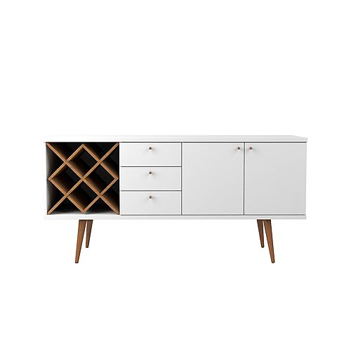 Utopia 4 Bottle Wine Rack with 3 Drawers and 2 Shelves in White Gloss and Maple Cream