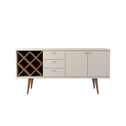 Utopia 4 Bottle Wine Rack with 3 Drawers and 2 Shelves in Off White and Maple Cream