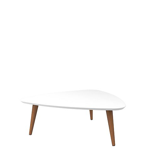 """Utopia 11.81"""" High Triangle Coffee Table with Splayed Legs in White and Maple Cream"""