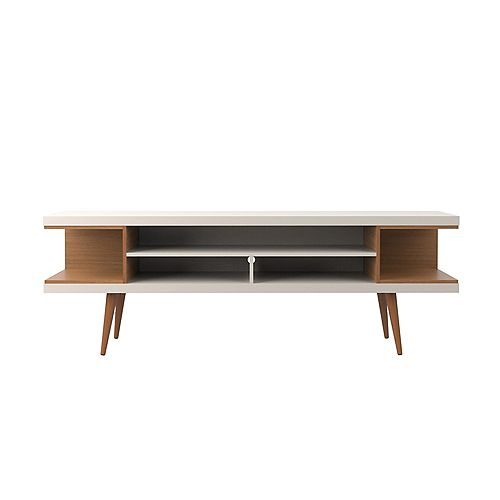 """Utopia 70.47"""" TV Stand with Splayed Wooden Legs and 4 Shelves in Off White and Maple Cream"""