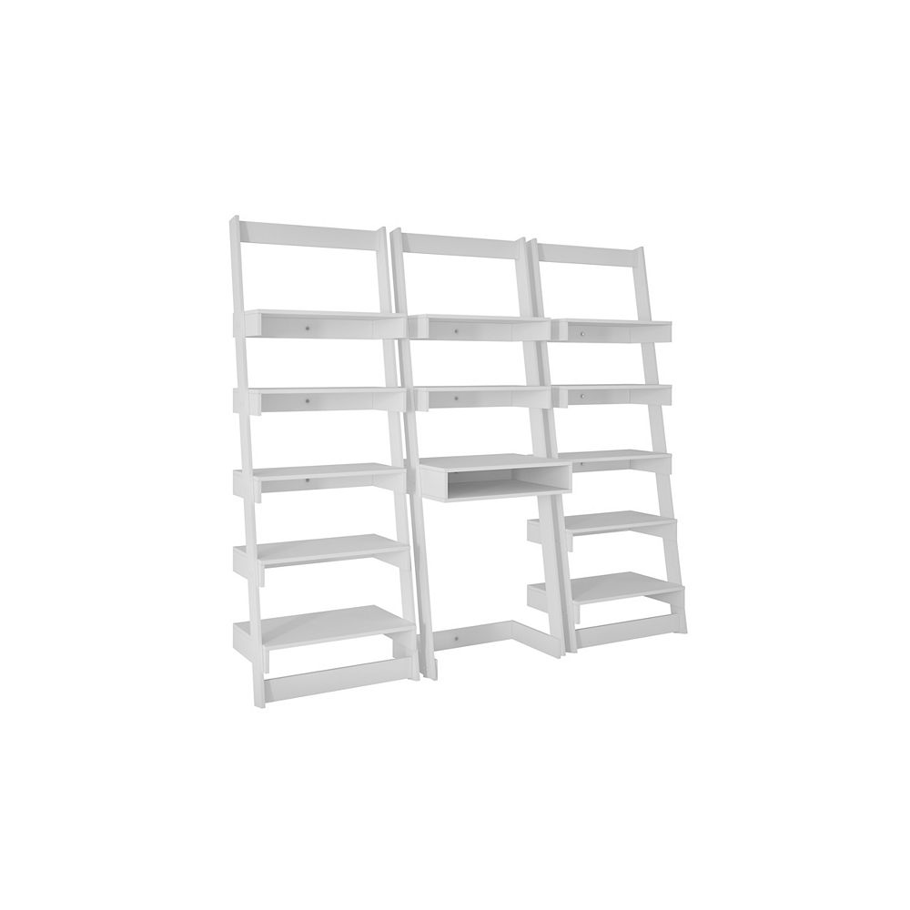 Accentuations by Manhattan Comfort 3-Piece Carpina Home Floating Ladder Shelf Office Desk in White