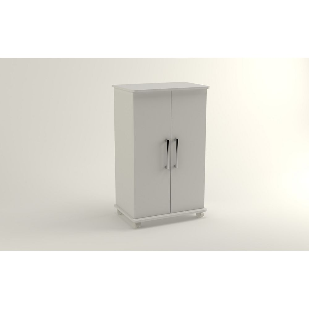 Accentuations by Manhattan Comfort Catalonia Mobile Shoe Closet 2.0 with  6 shelves in White