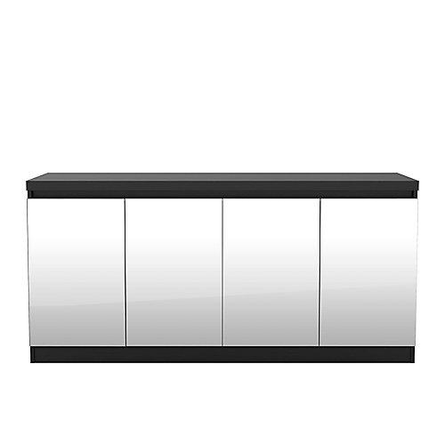 Viennois 62,99 pouce noir buffet avec miroirs et 6 étagères