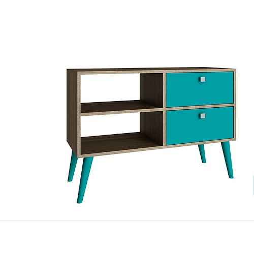Dalarna TV Stand  with  2 shelves in Oak and Aqua