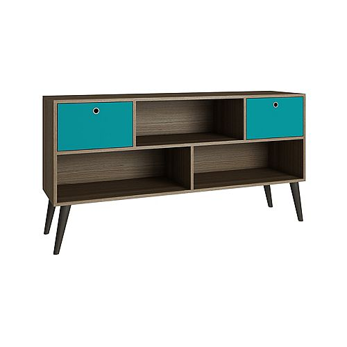 Uppsala TV Stand with  3 shelves in Oak and Aqua