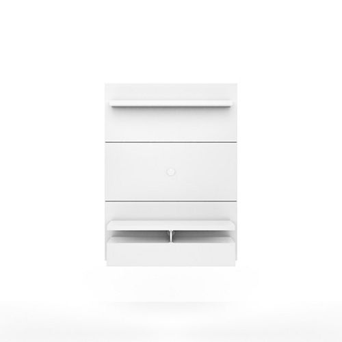 City 1.2 Floating Wall theatre Entertainment Center in White Gloss