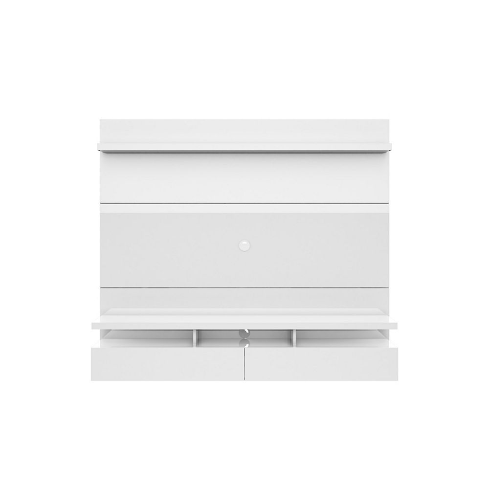 Manhattan Comfort City 1.8 Floating Wall theatre Entertainment Center in White Gloss