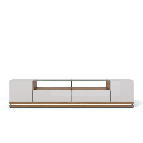 Vanderbilt TV Stand with LED Lights in Maple Cream and Off White