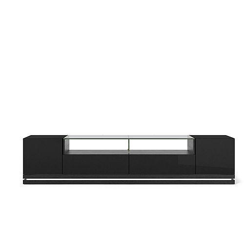 Vanderbilt TV Stand with LED Lights in Black Gloss and Black Matte