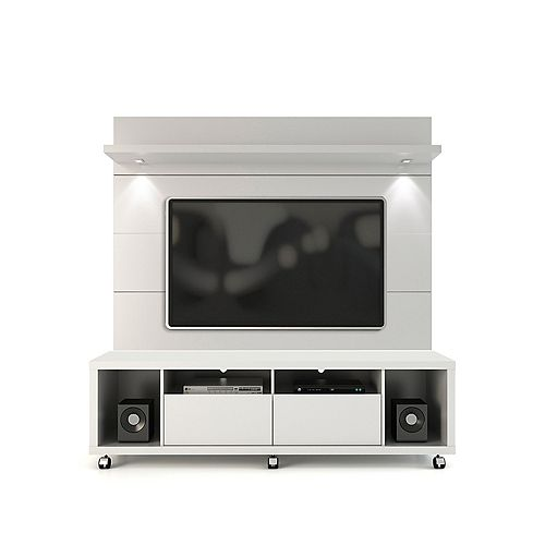 Cabrini TV Stand and Floating Wall TV Panel with LED Lights 1.8 in  White Gloss