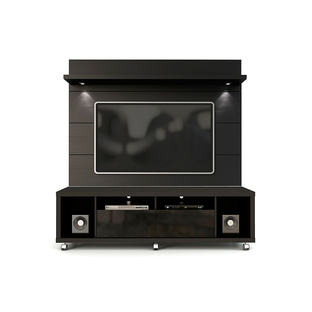 Manhattan Comfort Cabrini Tv Stand And Floating Wall Tv Panel With Led Lights 1 8 In Blac The Home Depot Canada