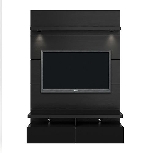 Cabrini 1.2 Floating Wall theatre Entertainment Center in Black Gloss and Black Matte