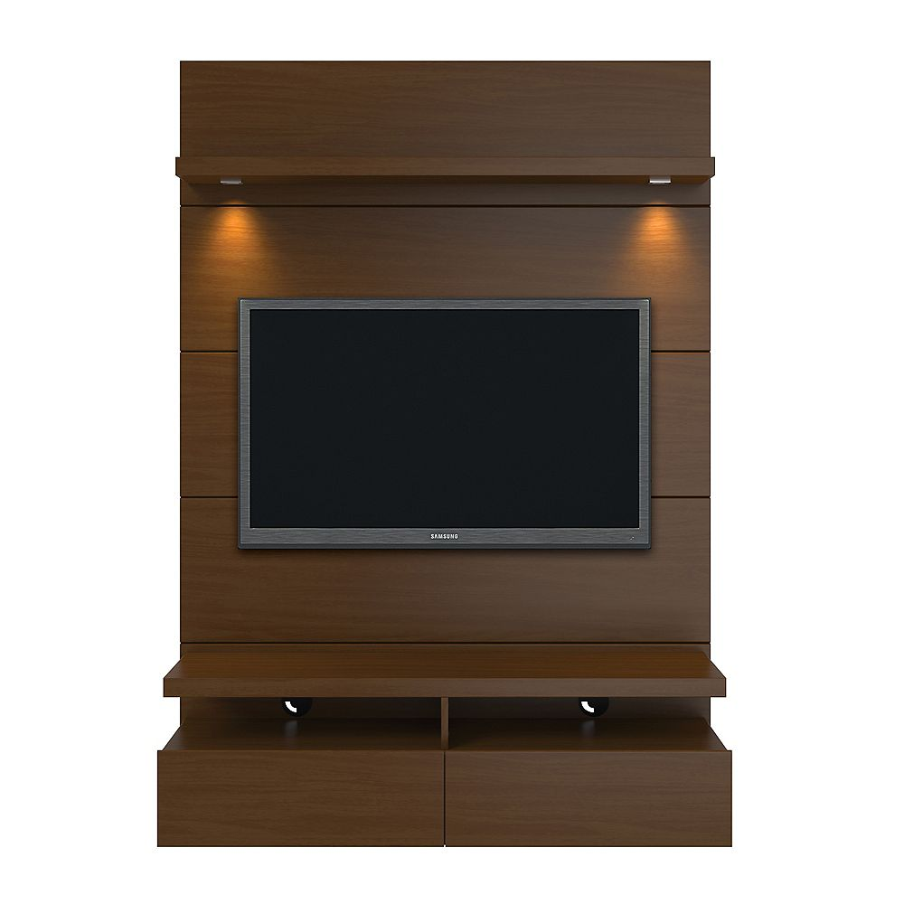 Manhattan Comfort Cabrini 1.2 Floating Wall theatre Entertainment Center in Nut Brown