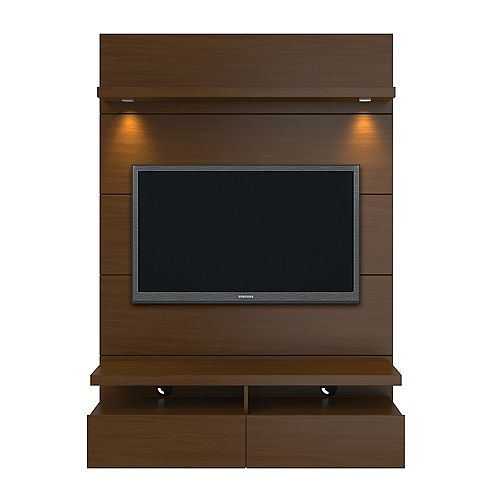 Cabrini 1.2 Floating Wall theatre Entertainment Center in Nut Brown