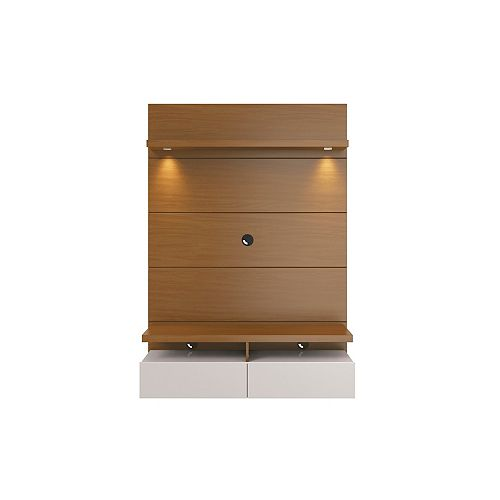 Cabrini 1.2 Floating Wall theatre Entertainment Center in Maple Cream and Off White