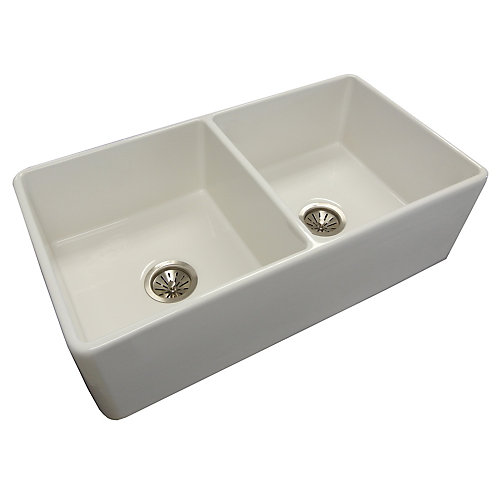 Fireclay Double Bowl Farmhouse Sink - 33 inch x 18 inch x 8 inch
