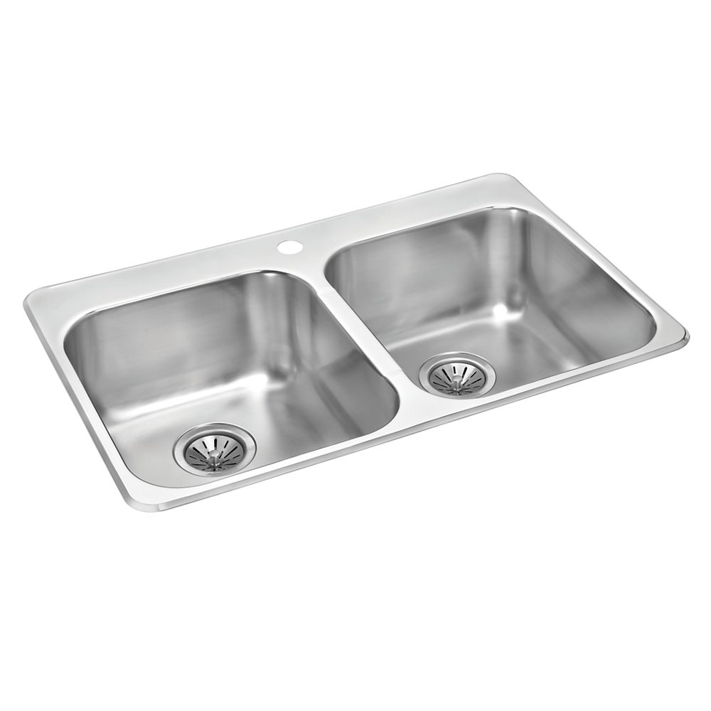 Stainless Steel Double Bowl Drop in Sink   20.20 inch x 20 inch x 20 inch