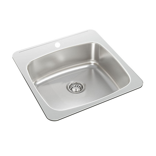 Stainless Steel Single Bowl Drop-in Sink - 20.5 inch x 20 inch x 7 inch