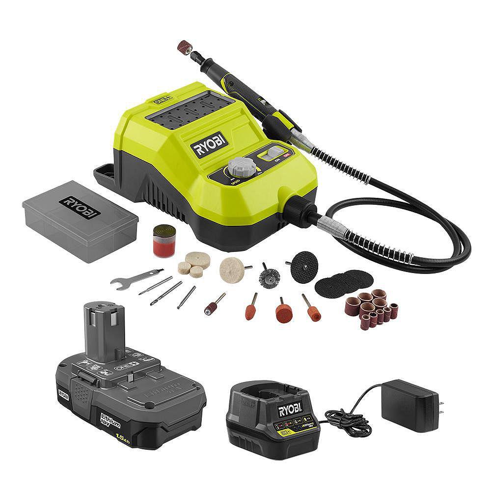RYOBI Kit d'outils rotatifs sans fil 18V ONE+ Lithium-Ion avec batterie et chargeur de 1,5 Ah