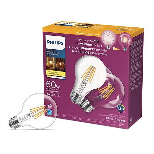 Philips Amp. DEL lum. ch. globe G25, équiv. de 60 W, 2 700 K à 2 000 K, verre transp., bl. doux, ens. de 3