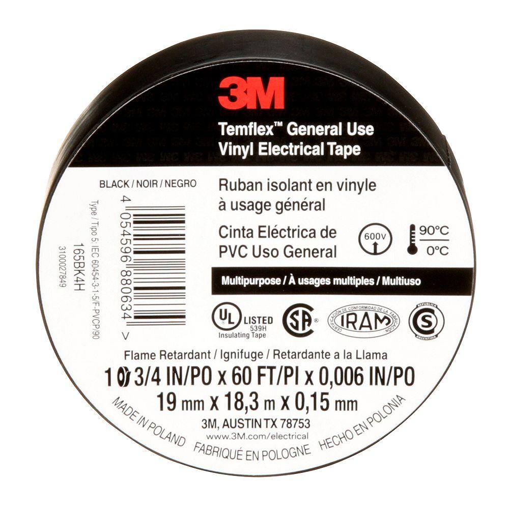 3M Ruban isolant en tout usage Temflex(MC) 3M(MC) 33546 0,71 po x 60 pi x 0,01 po (18 x 18,3 m x,18 mm)