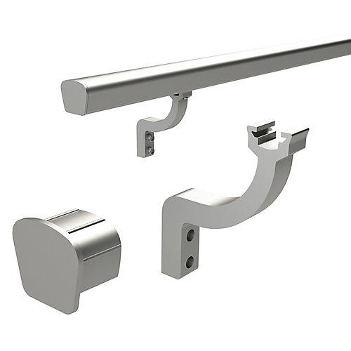 support et capuchons d'extremite pour main courante- aluminium brosse