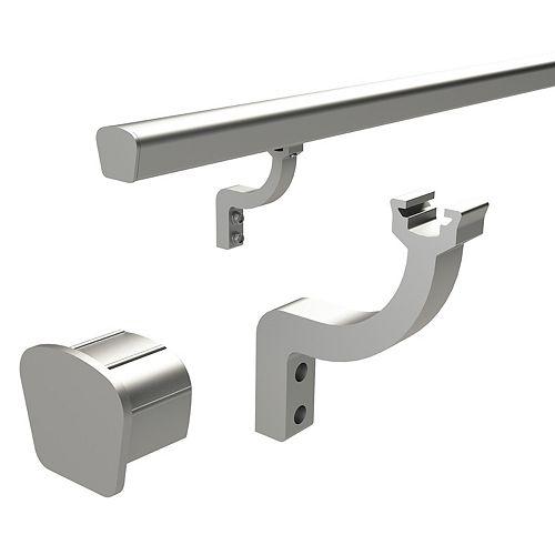 Aluminum Handrail Bracket & End Caps - Brushed Aluminum