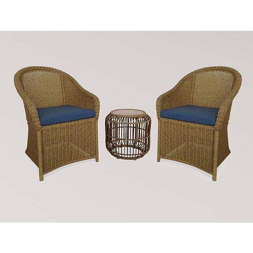 Hampton Bay Florence 3-Piece Wicker Outdoor Bistro Set With Blue Cushion