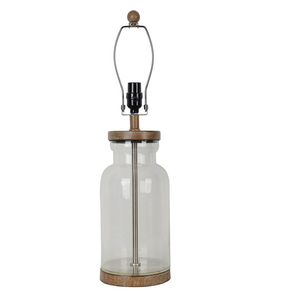 """Hampton Bay Pied de lampe de table à remplir en verre transparent H. 25"""""""