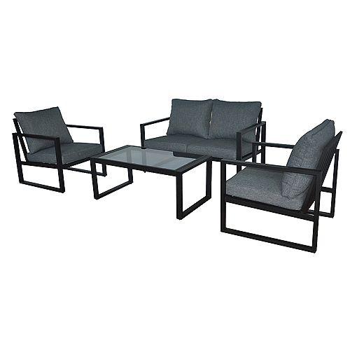 Barclay Black 4-Piece Steel Outdoor Patio Conversation Set with Grey Cushions
