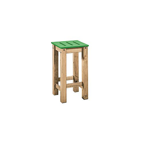 """Stillwell 24.8"""""""" Tall Barstool in Green and Natural Wood (Set of 2)"""