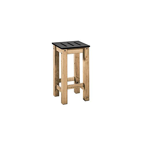 "Stillwell 24.8"""" Tall Barstool in Black and Natural Wood (Set of 2)"