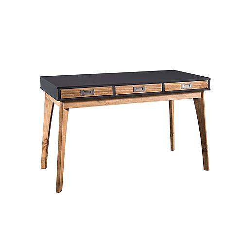 Jackie Home Office Desk in Dark Grey and Natural Wood