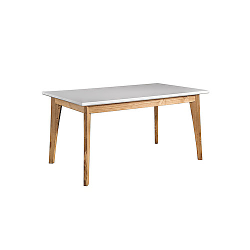 Jackie 6-Seat Dining Table in White and Natural Wood
