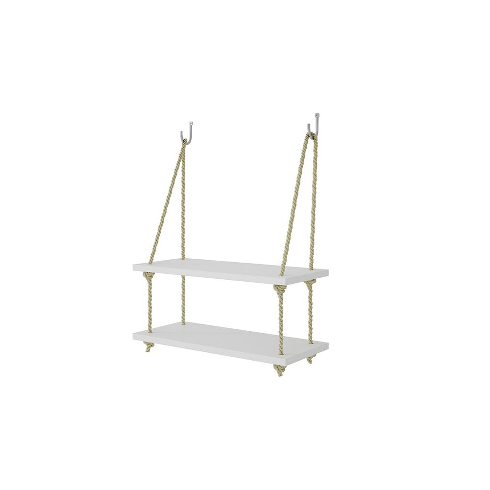 """Manhattan Comfort Uptown 2.0 - 17.52"""" Rope Swing with 2 Shelves in White"""