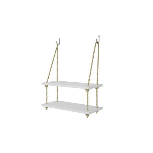 """Uptown 2.0 - 17.52"""" Rope Swing with 2 Shelves in White"""