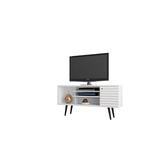 """Liberty 53.14"""" Modern TV Stand  with 5 Shelves and 1 Door in White  with Solid Wood Legs"""