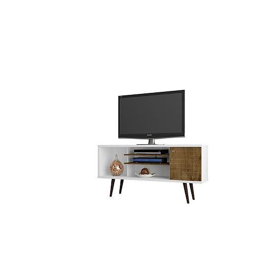 "Liberty 53.14"" Modern TV Stand with 5 Shelves and 1 Door in White and Rustic Brown"