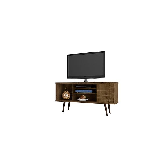 "Liberty 53.14"" Modern TV Stand  with 5 Shelves and 1 Door in Rustic Brown"