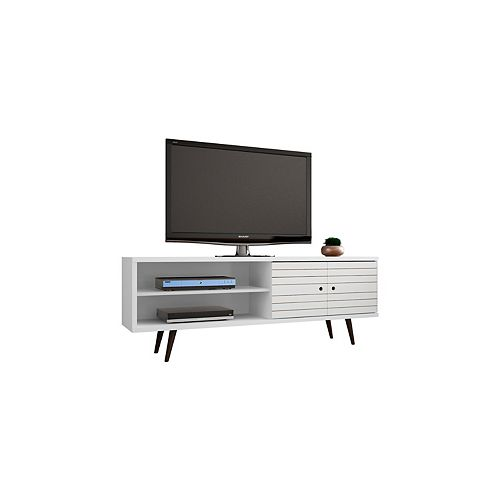 "Liberty 62.99"" Modern TV Stand with 3 Shelves and 2 Doors in White"