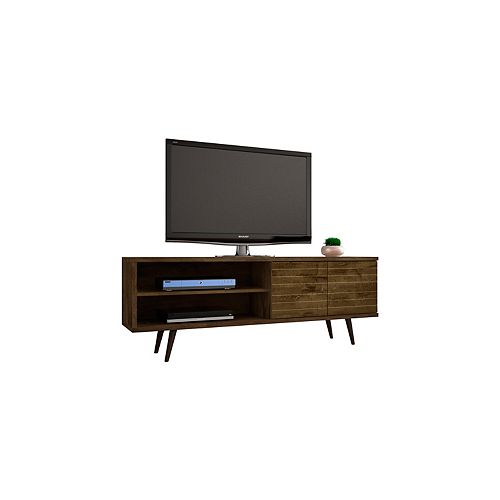 "Liberty 62.99"" Modern TV Stand with 3 Shelves and 2 Doors in Rustic Brown"