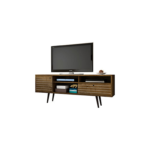 """Liberty 70.86"""" Modern TV Stand with 4 Shelving Spaces and 1 Drawer in Rustic Brown"""