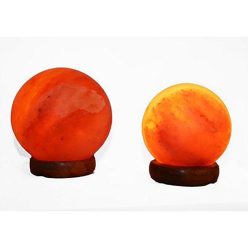 5 - 7 pouce Himalayan Sphère en forme de lampe de sel 1.5 et 1.7 avec gradateur - Ensemble de 2