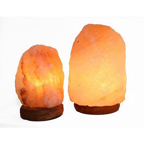 6 à 8 pouce Himalayan Lampe de sel en forme naturelle de  1,6 et 1,8 avec gradateur - Ensemble de 2