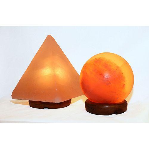 5 pouces Sphère en forme Himalayan de lampe de sel lampe pyramide de 1,5 et 9 pouces avec gradateur