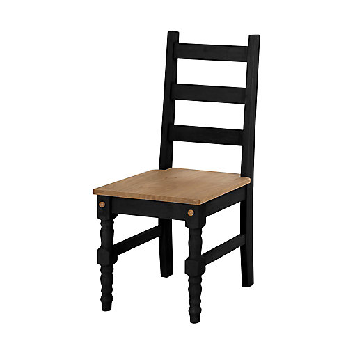 Jay Solid Wood Dining Chair in Black Wash (Set of 2)