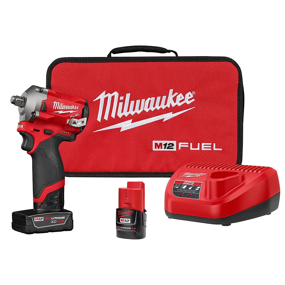 Milwaukee Tool 2555-22 M12 FUEL 12V Li-Ion Brushless Cordless Stubby 1/2 in Impact Wrench Kit with 4.0Ah & 2.0Ah Batteries
