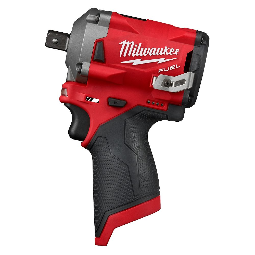 Milwaukee Tool M12 FUEL 12V Lithium-Ion Brushless Cordless Stubby 1/2-Inch Impact Wrench w/ Pin Detent (Tool Only)