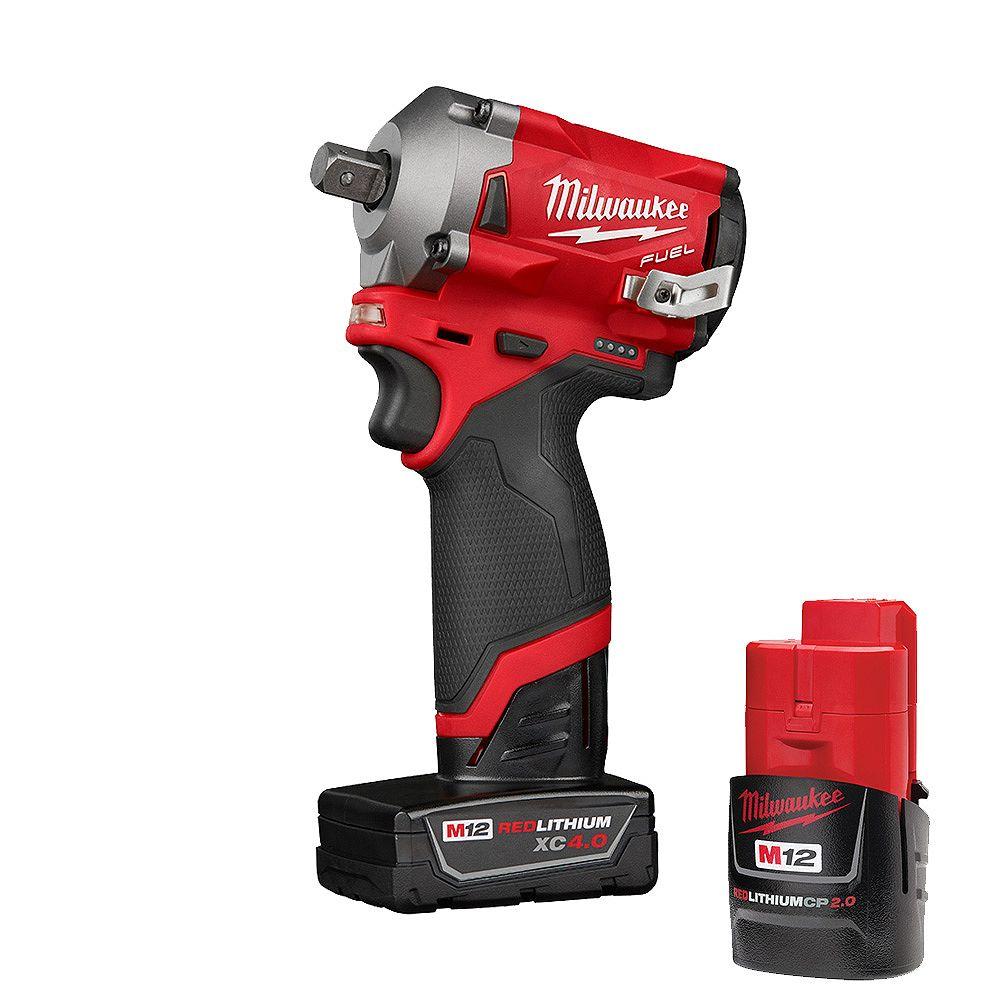 Milwaukee Tool M12 FUEL 12V Li-Ion Brushless Brushless Brushless sans fil Clé à chocs de 1... | Home Depot Canada