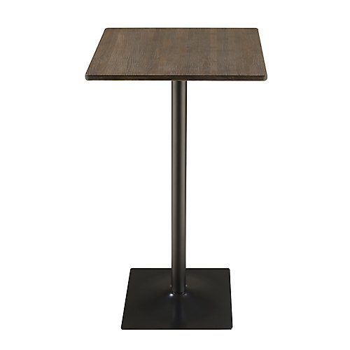 Grotto 23.5-Inch Square Bar Table in Dark Elm with Matte Black